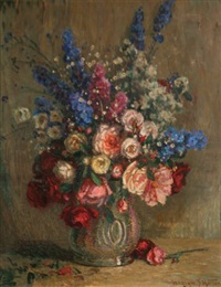 nature morte aux roses et delphiniums by william samuel horton