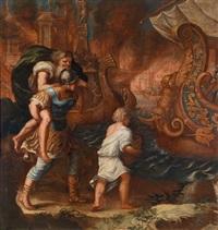 aeneas trägt seinen vater anchises aus dem brennenden troja by austrian school (17)