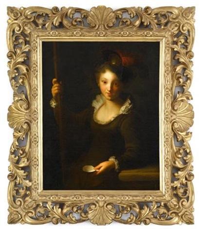 portrait of a girl, three-quarter length, dressed as a pilgrim by alexis grimou