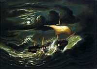 storm tossed frigate in moonlight by thomas chambers