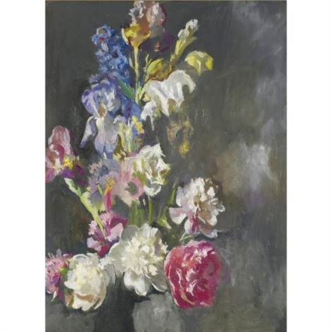 still life study of peonies and iris by edmund charles tarbell