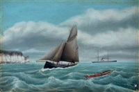 fishing off the coast with a steamship in the distance by g. wilson