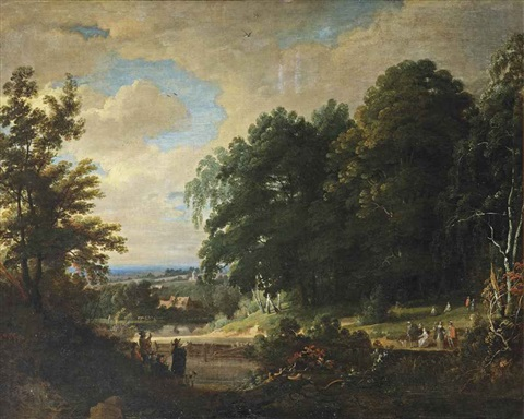 a forest landscape with figures making music and singing to an elegant company a village beyond by jacques d arthois