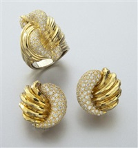 ring; earrings (pair) (3 works in total) by henry dunay