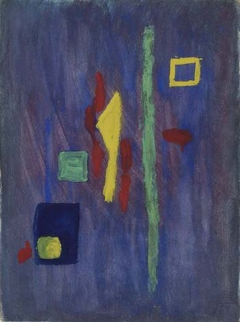 untitled red yellow and green forms on a purple ground by barnett newman