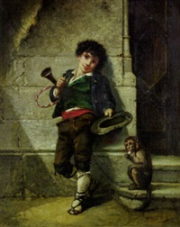 gypsy boy with a monkey by alexandre le fort