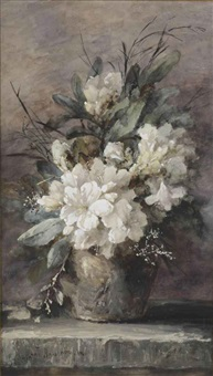 an earthenware vase with white azaleas and various other flowers by margaretha roosenboom
