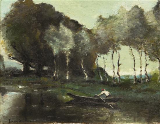 skiff on the river by paul désiré trouillebert