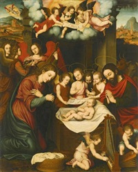 the nativity with angels playing music by nicolás borrás
