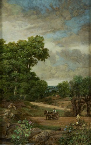 horse & cart in a field by jack cudworth