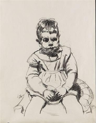porträt von meidners sohn david kauernde person pencil verso by ludwig meidner