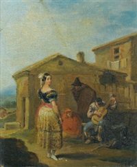 a woman at a balcony; a woman standing before a musical group (pair) by leonardo alenza y nieto