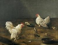 hahn, henne und küken am wassernapf by johann friedrich grooth