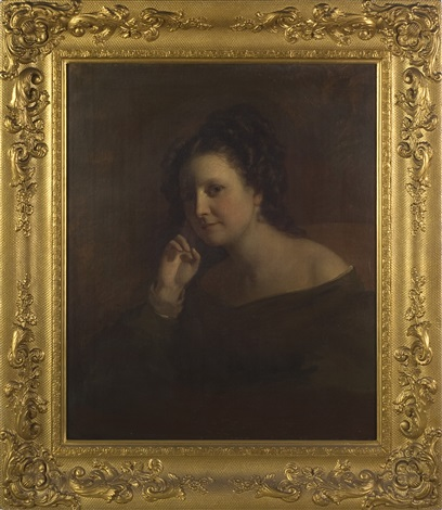 portrait of a young woman in brown by francis alexander