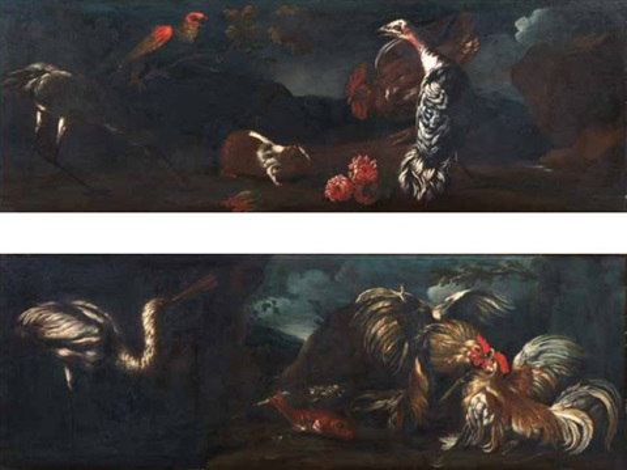 natura morta con tacchino gallo coniglio pappagallo airone in un paesaggio natura morta con due galli che combattono pesci ed airone in un paesaggio pair by giovanni agostino abate cassana