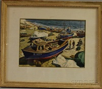 lobster boats on the sand by joseph morgan henninger