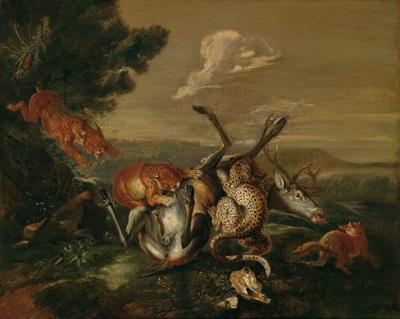 leoparden einen hirsch reissend by carl borromaus andreas ruthart