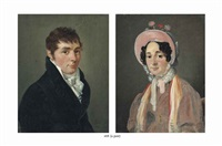 portrait of a man, half-length, in a black coat and neckcloth and portrait of a woman, half-length, in a pink dress and bonnet with flowers (pair) by françois jean (jean françois) sablet