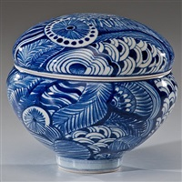 untitled blue and white covered vessel by ralph bacerra