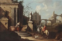 a capriccio of classical ruins with two gentlemen on horseback by a well with a washing maid by dirk maes