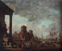 a mediterranean harbour with moored men-o'-war and other shipping with oriental merchants and stevedores on a quay by johann georg stuhr