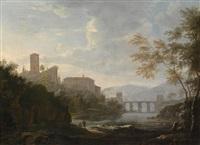 südliche landschaft mit hoch gelegener kirche und einer bogenbrücke über einen fluss by willem von bemmel