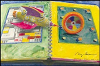 rocket ship, painting and linoleum sample book by greg curnoe