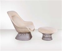 poltrona easy chair con ottomana by warren platner