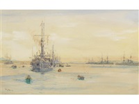 the 3rd battle squadron, king edward vii class at anchor in scapa flow by william lionel wyllie