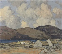 thatched cottages with mountains beyond by paul henry
