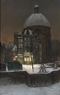 a view of the luther church in winter time, amsterdam by herman heijenbrock