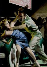 woman fighting wrench-wielding thug in garage by hugh j. ward