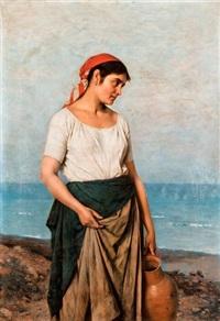 itáliai lány a tengerparton by jános valentiny