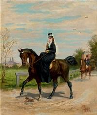 cavalier et cavalière sortant d'un château by léon joseph voirin