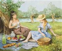 déjeuner sur l'herbe, (les 3 amies en picnic) by marcel dyf