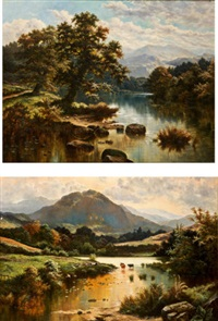 welsh river landscape with mountainous backgrounds; pair) by horace mann livens