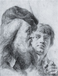 two male heads by giovanni battista piazetta
