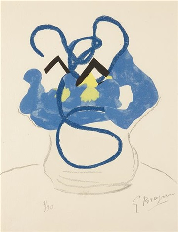bouquet of blue flowers (from si je mourais là-bas) by georges braque