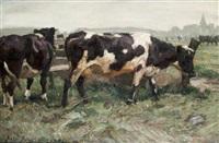 kühe vor dem dorf by julius paul junghanns