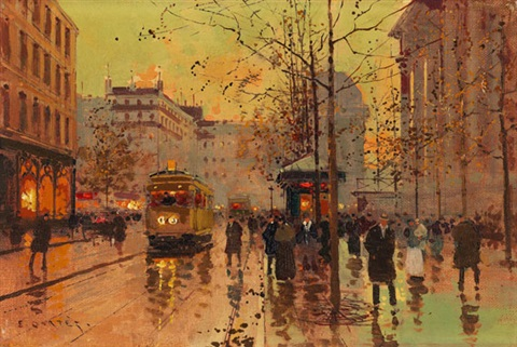 paris place de la madeleine nach einem regenschauer by edouard léon cortès