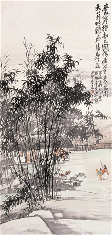 携琴访友 landscape by wang kun and wang yixian