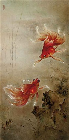 a pair of goldfish by lee man fong