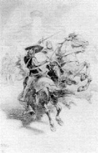 knights dueling on horseback by j. allen st. john