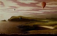 landscape with hot air baloons by stuart morle