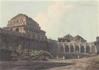 part of the palace, madura (+ the entrance to the elephanta cave (abbey travel 420, pls. 39 and 58); 2 works) by thomas daniell