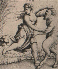 satyr and bacchante wrestling by augustin hirschvogel