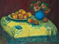 苹果与蓝色瓶花 by pan yuliang