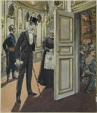 man entering balcony of concert hall (bk illus. for the ambassadors by henry james) by leslie saalburg