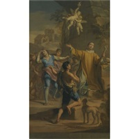 an outdoor scene with a saint in ecstatic rapture, surrounded by devotees (bozzetto) by jacopo alessandro calvi
