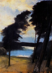 landscape with lake by lesser uri